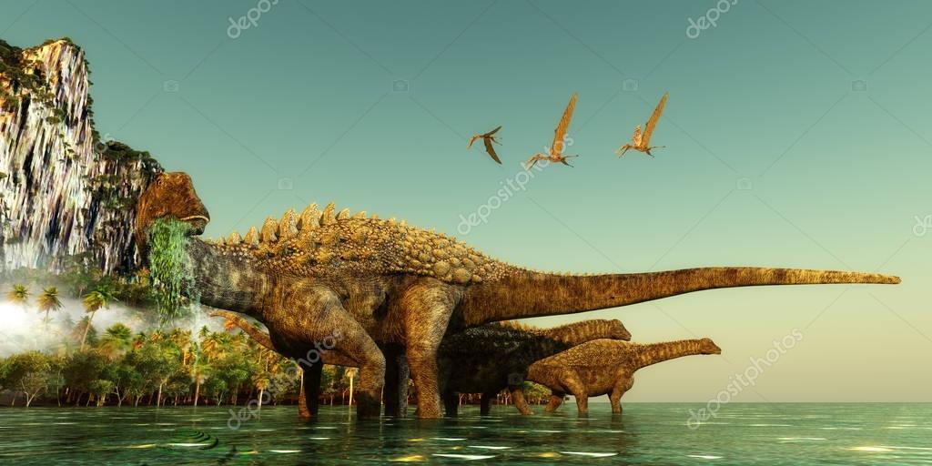 Ampelosaurus Dinosaurs Eating