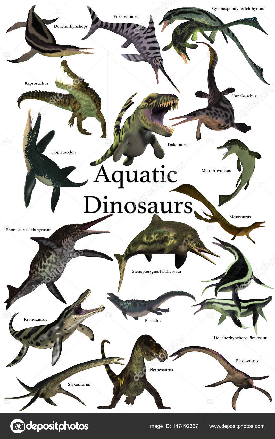 Collection de dinosaures aquatiques photographie - Dinosaure marin carnivore ...