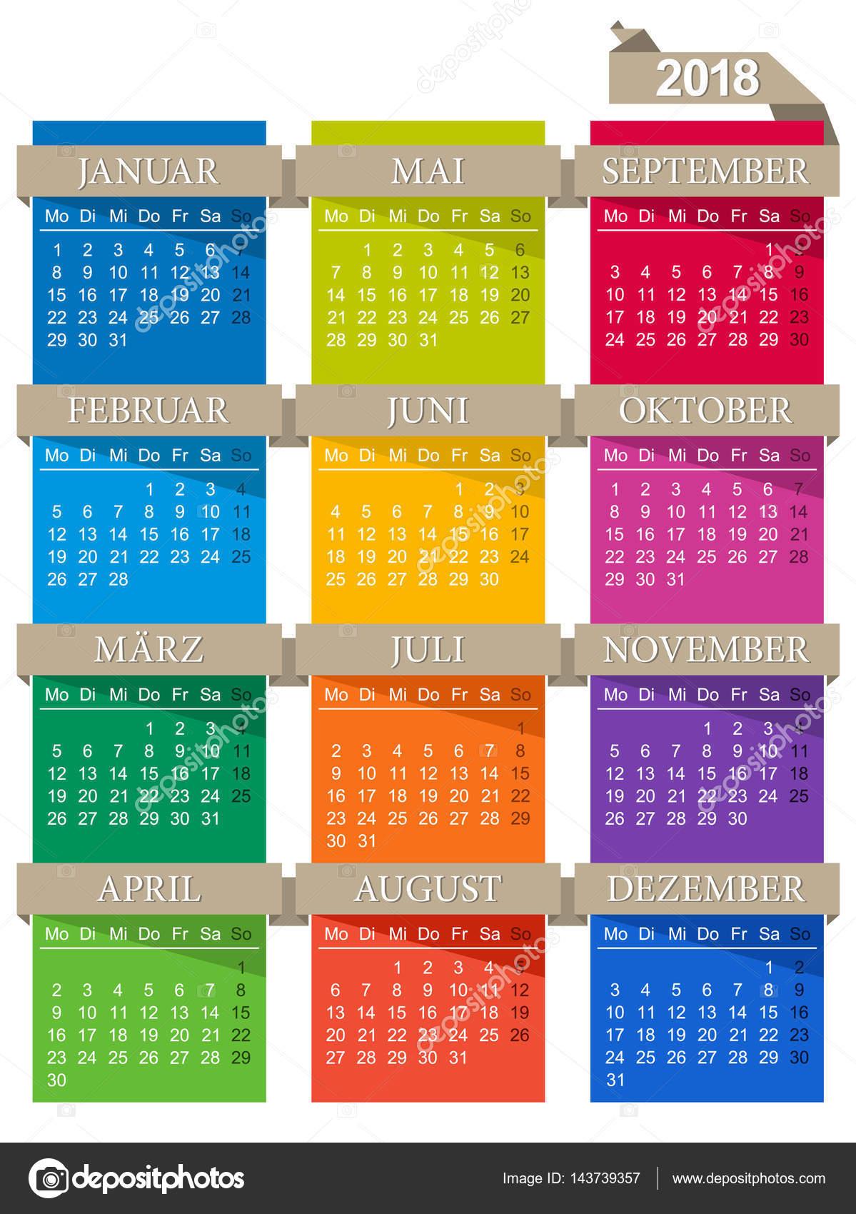 nemecky kalendar Německý kalendář 2018 — Stock Vektor © hana11 #143739357 nemecky kalendar