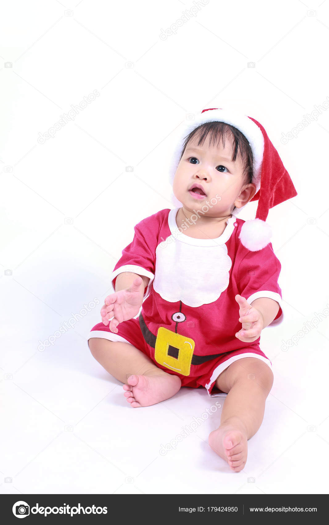 981d740f5 Portrait Little Cute Asian Baby Girl Wearing Red Christmas Hat ...