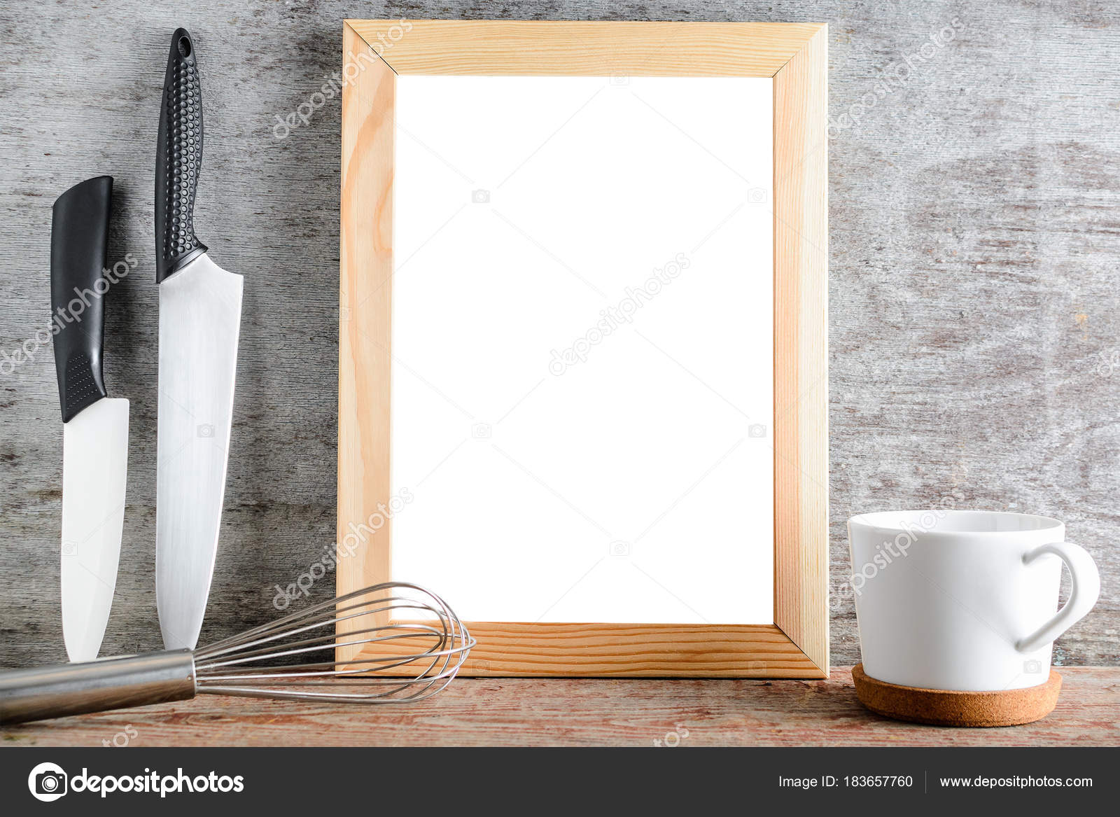 Surprising Empty Wooden White Isolated Frame With Kitchen Accessories Home Interior And Landscaping Ferensignezvosmurscom