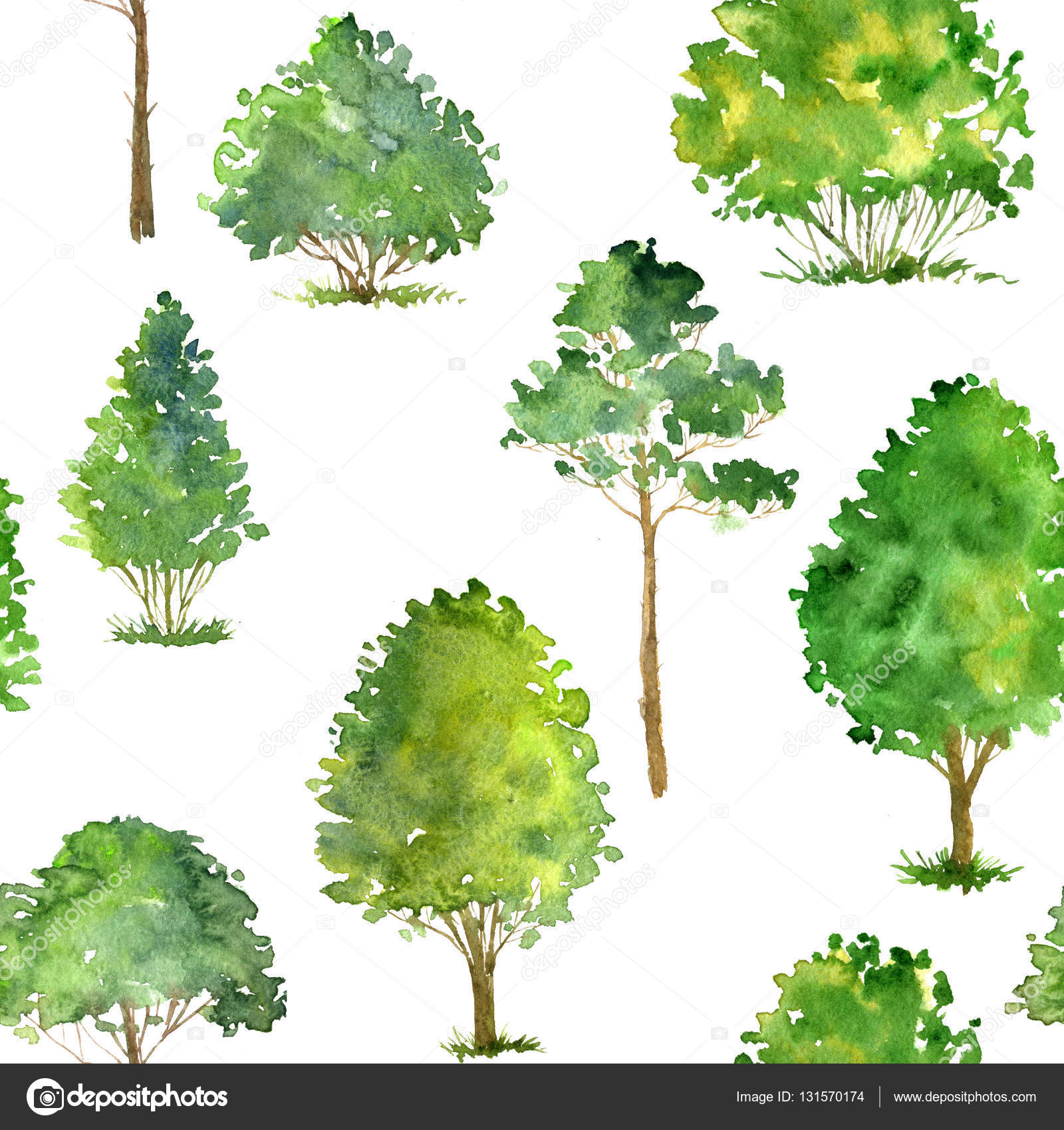 seamless pattern with watercolor drawing trees — Stock Photo ...
