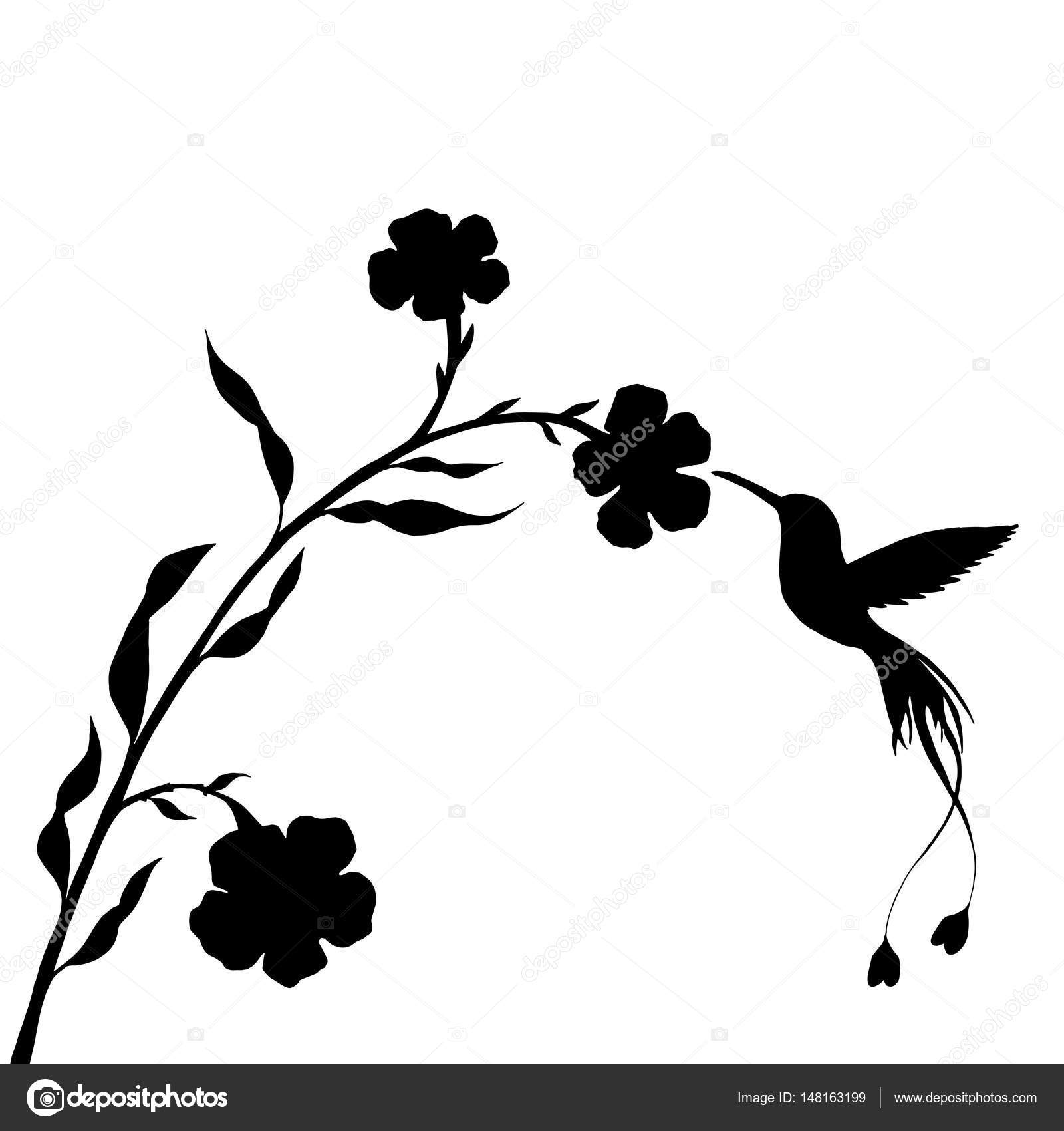 Hummingbird and flower silhouettes — Stock Vector
