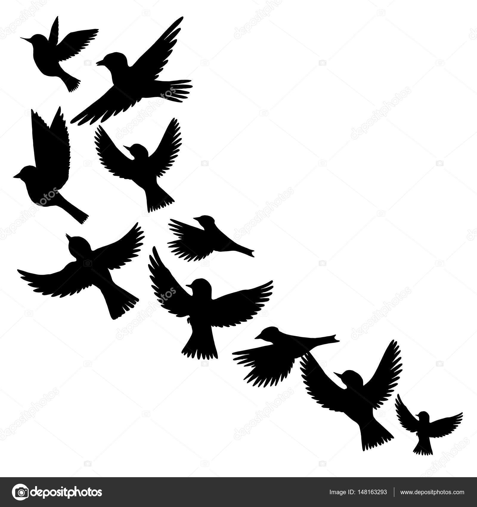飛行鳥のシルエットをベクターします。 \u2014 ストックベクター
