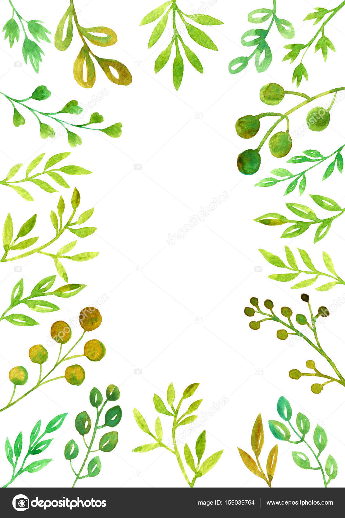 Frame With Watercolor Doodle Twigs With Leaves Stock Photo C Cat Arch Angel 159039764