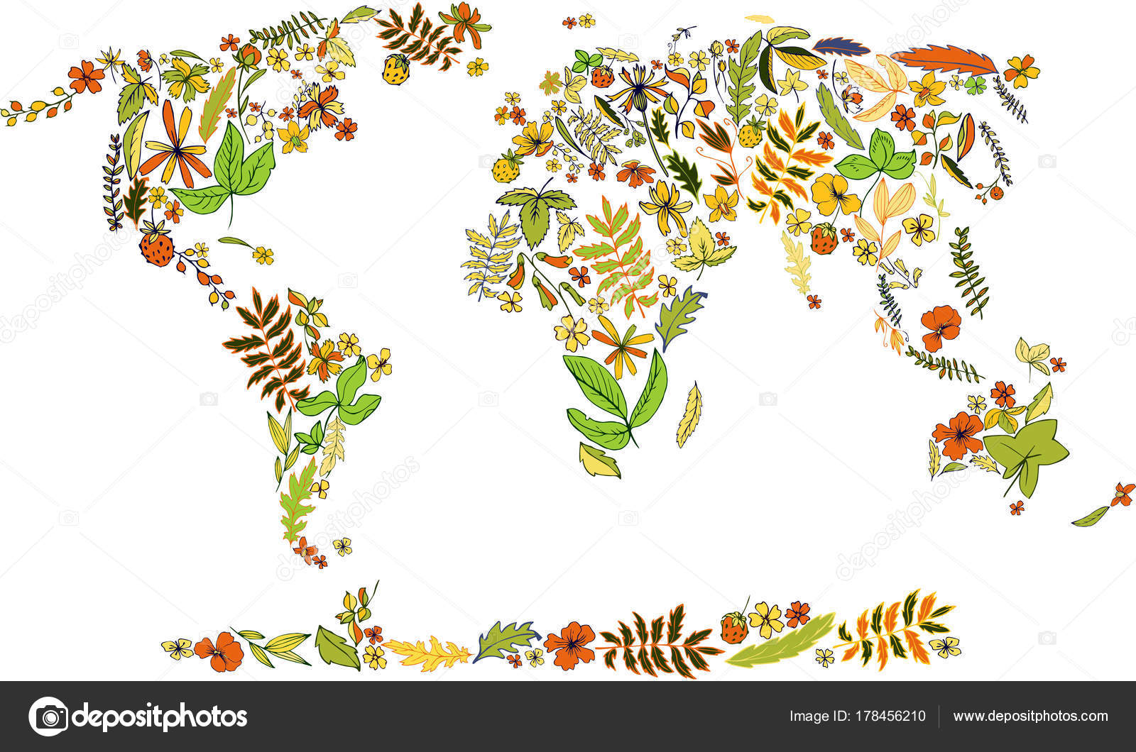Map Of World Covered By Plants And Leaves Stock Vector