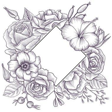vintage vector floral composition
