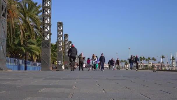 promenade of Barcelona in sunny weather in winter
