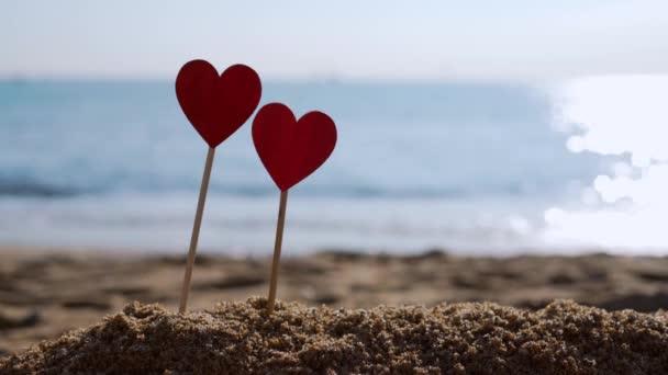 A kutya összefut két szív hátterével a tengerparton..