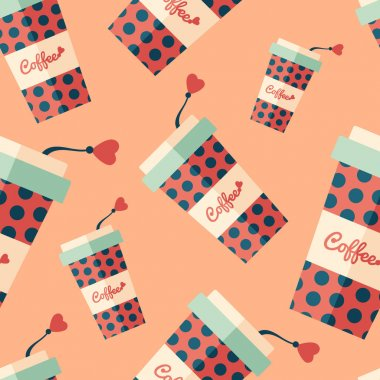 Coffee paper cup with circles flat icon seamless pattern.