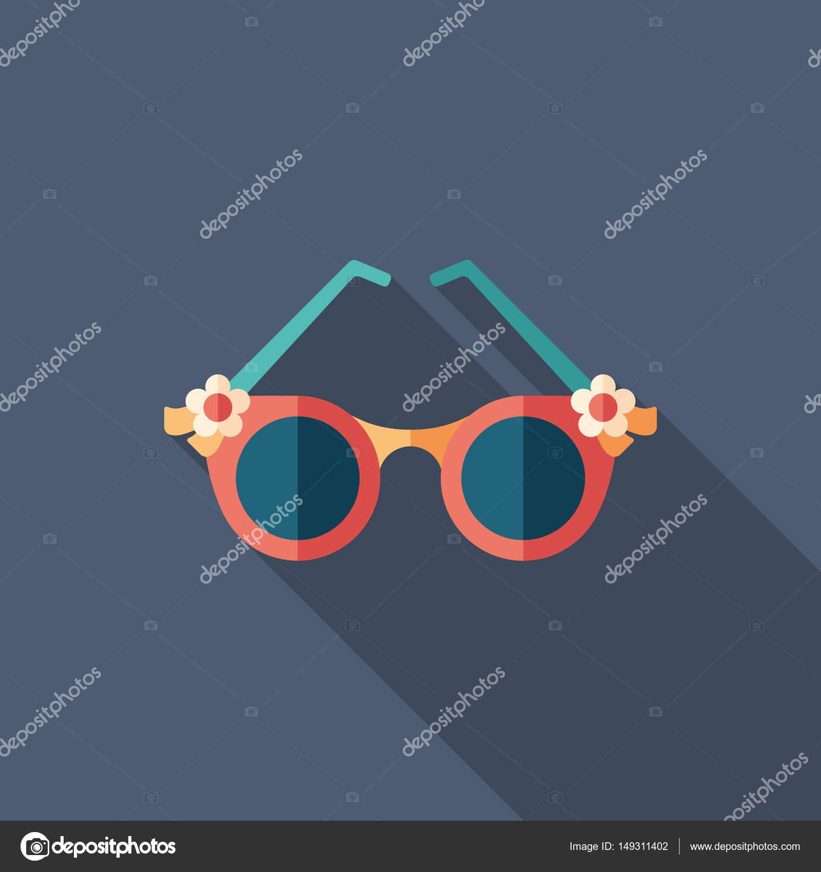 ce5cdcecf Óculos de sol românticos feminino liso ícone quadrado com longas sombras —  Vetores de Stock