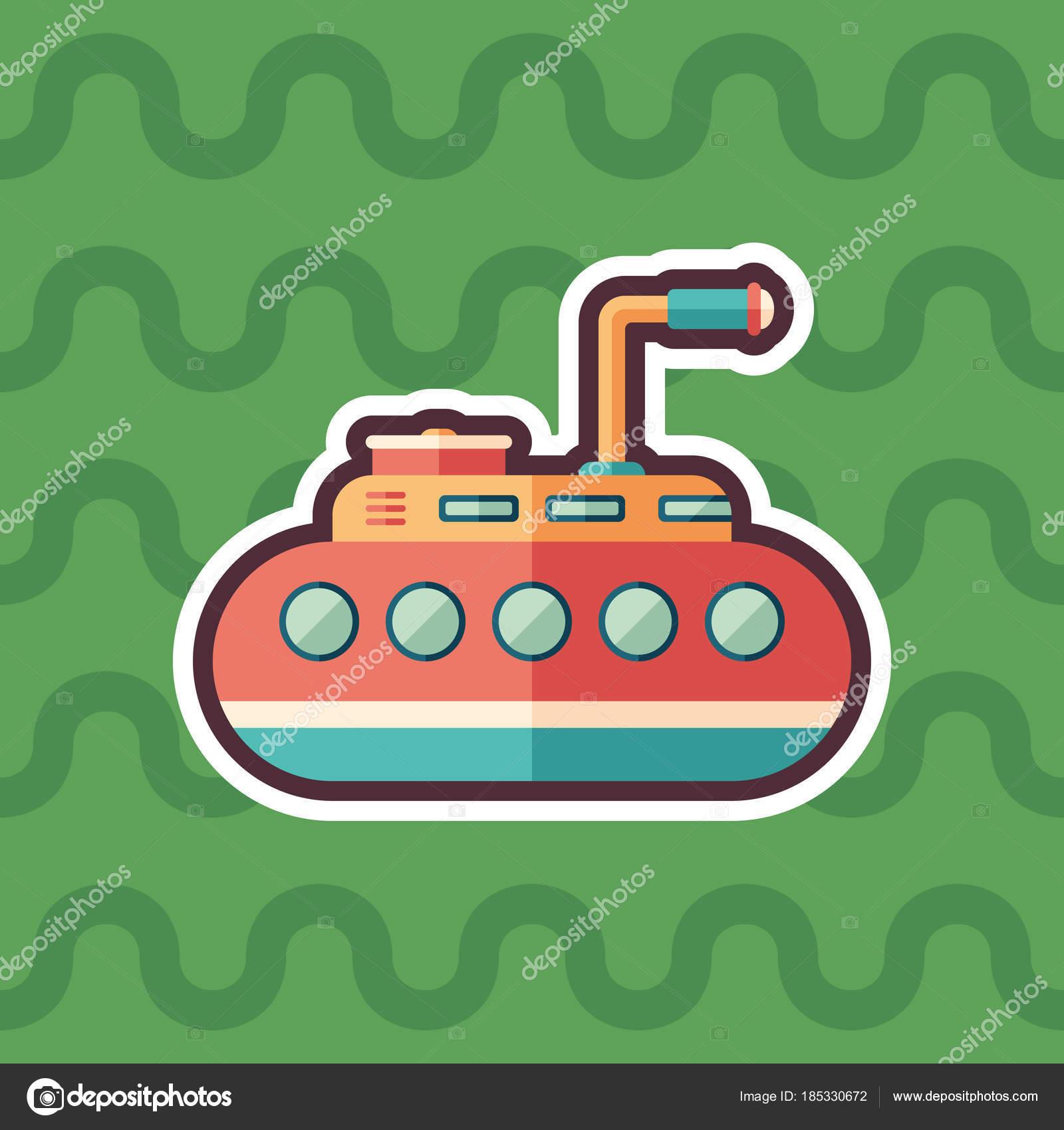 Tourist Submarine Sticker Flat Icon Color Background — Stock Vector ...