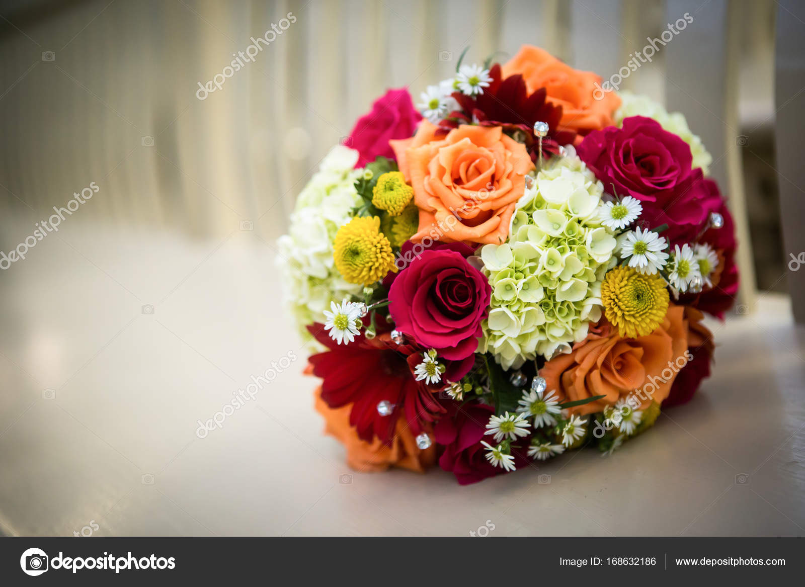 Orange yellow white wedding bouquet stock photo steve beautiful orange red and yellow bouquet loaded with daisies and roses on a bench with shallow depth of field photo by stevesa3studios mightylinksfo