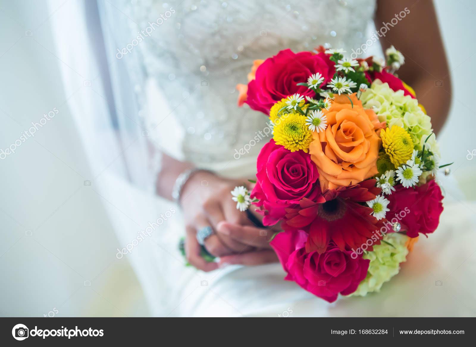 Orange Yellow White Wedding Bouquet Stock Photo Steve