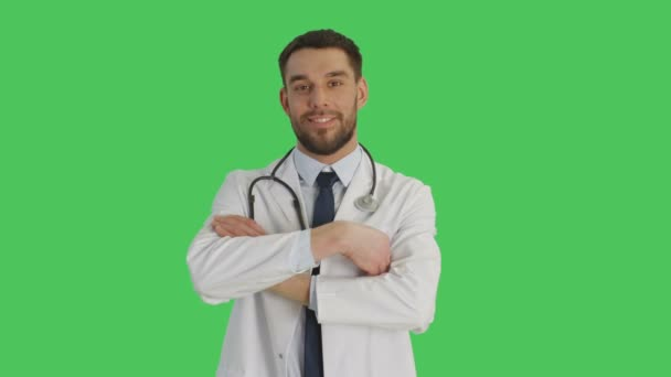 Mid Shot of a Doctor Crossing Arms and Smiling. Background is Green Screen.