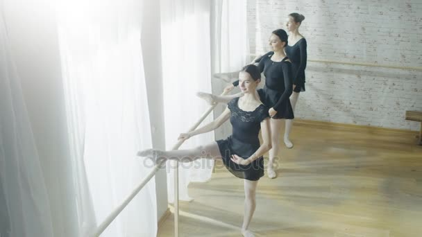 Three Graceful Ballerinas practice