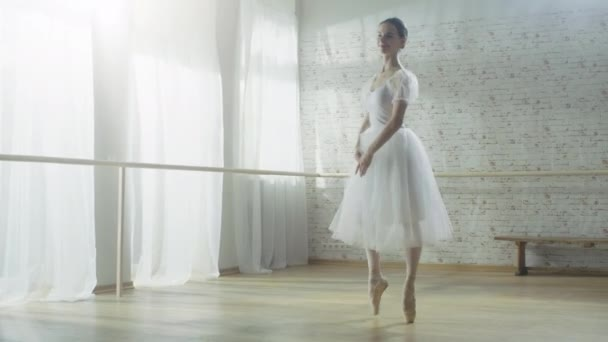 Mladá a krásná tanečnice tančí energicky, ale ladně na Pointe baletní boty, ona se točí. Má na sobě bílé Tutu šaty. Studio je slunečné a moderní