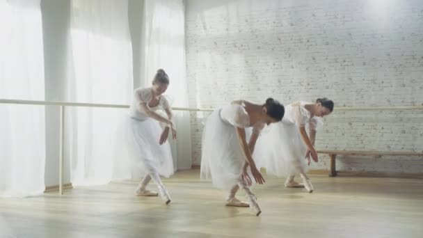 Three Young and Gorgeous Ballerinas Synchronously Dancing. They Wear White Tutu Dresses. Shot on a Sunny Morning in a Bright and Spacious Studio.