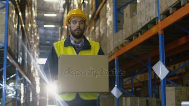 Betöltő visel kemény kalap hordozza karton doboz keresztül raktár raktározás hely teljes raklap állvány.
