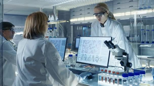 In Modern Laboratory Senior Female Scientist Discusses Work with Young Female Assistant. Laboratory Has Computers, Beakers and Other Technology for High Tech Scientific Analysis.