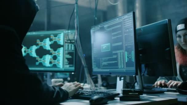Il team di internazionalmente Wanted ragazzo e ragazza hacker organizzare Attacco Malware avanzato su server aziendali. Luogo è buio e ha più schermi