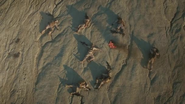 Flying over Group of Dead Soldiers in Desert Area. Zooming In.