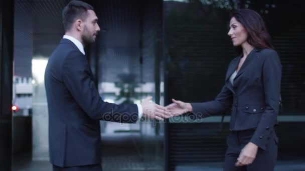 Business Man and Woman Have a Greeting Handshake