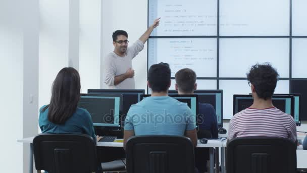 Group of Students on Lecture in Computer Class.