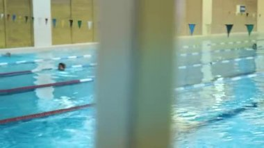 Professional Female Swimmer Jumping Off the Starting Block and Performing the Front Crawl. Camera Follow Her.