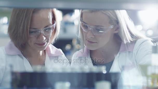 Dvě ženské vědci pracují s kapalné vzorky ve zkumavce v laboratoři