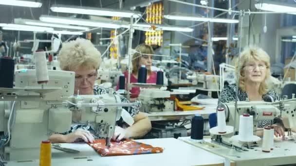 Timelapse zaměstnanců pracujících v oděvní továrně