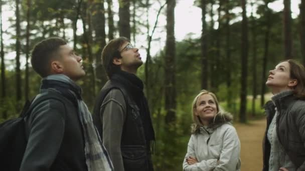 Group of people in autumn clothes are standing in a forest and looking around.