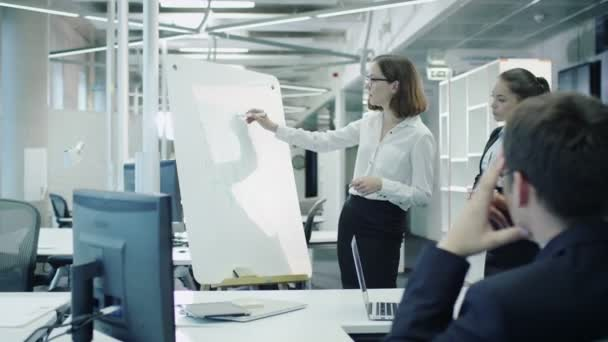 Team of Office Workers Have Meeting. Woman does Presentation with Graphs on Whiteboard.