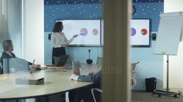 Woman does Presentation for Group of Businessmen in Conference Room.