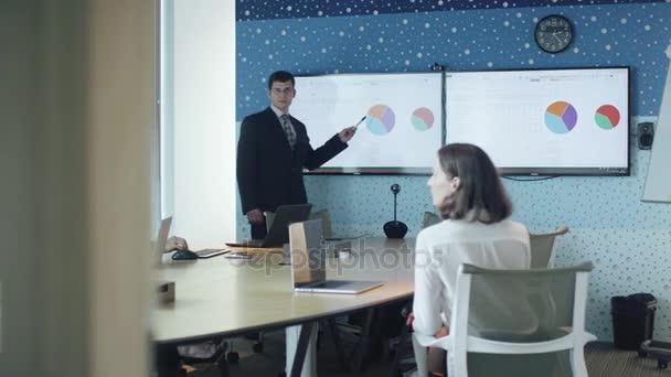 Člověk dělá prezentaci pro skupinu podnikatelů v konferenční místnosti