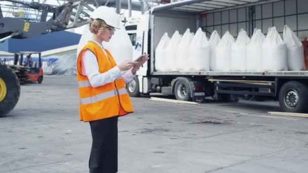 Žena manažerka na naložení zboží do kamionu