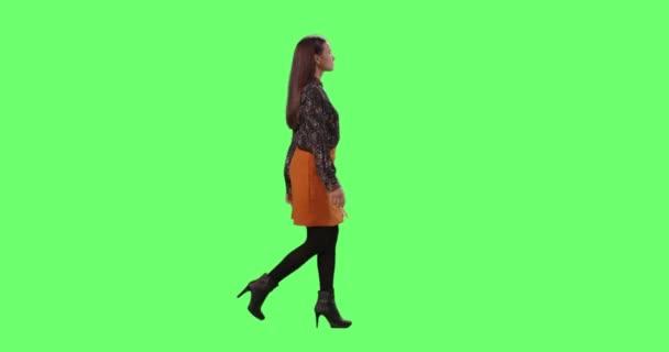 Elegantní mladá brunetka elegantně chůzi. Zastřelen na imitaci zelené obrazovce v pozadí.