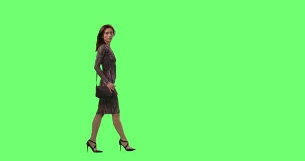 Okouzlující brunetka žena v těsné šaty s malou kabelku elegantně chůze na obtahování zelené obrazovky v pozadí.