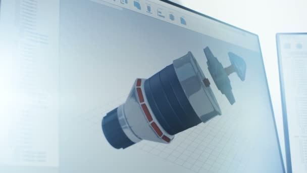 On Screen Footage of 3D Model of Industrial Turbine/ Engine Part Made with  CAD Software