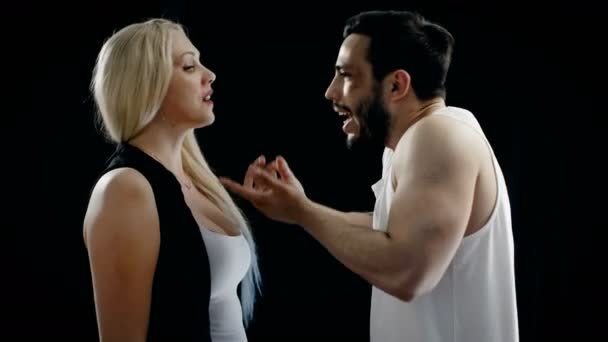Aggressive Man with Bruised Face, Wearing Singlet, He Screams at the Woman and Gesticulates Angrily She Screams Back. Possible Domestic/ Relationship Dispute.