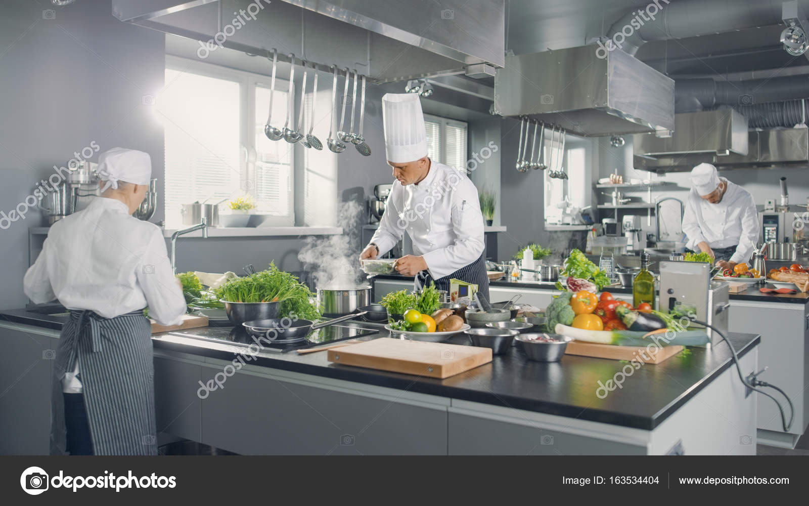 busy kitchen. Big And Glamorous Restaurant Busy Kitchen, Chefs Cooks Worki \u2014 Stock  Photo Busy Kitchen S