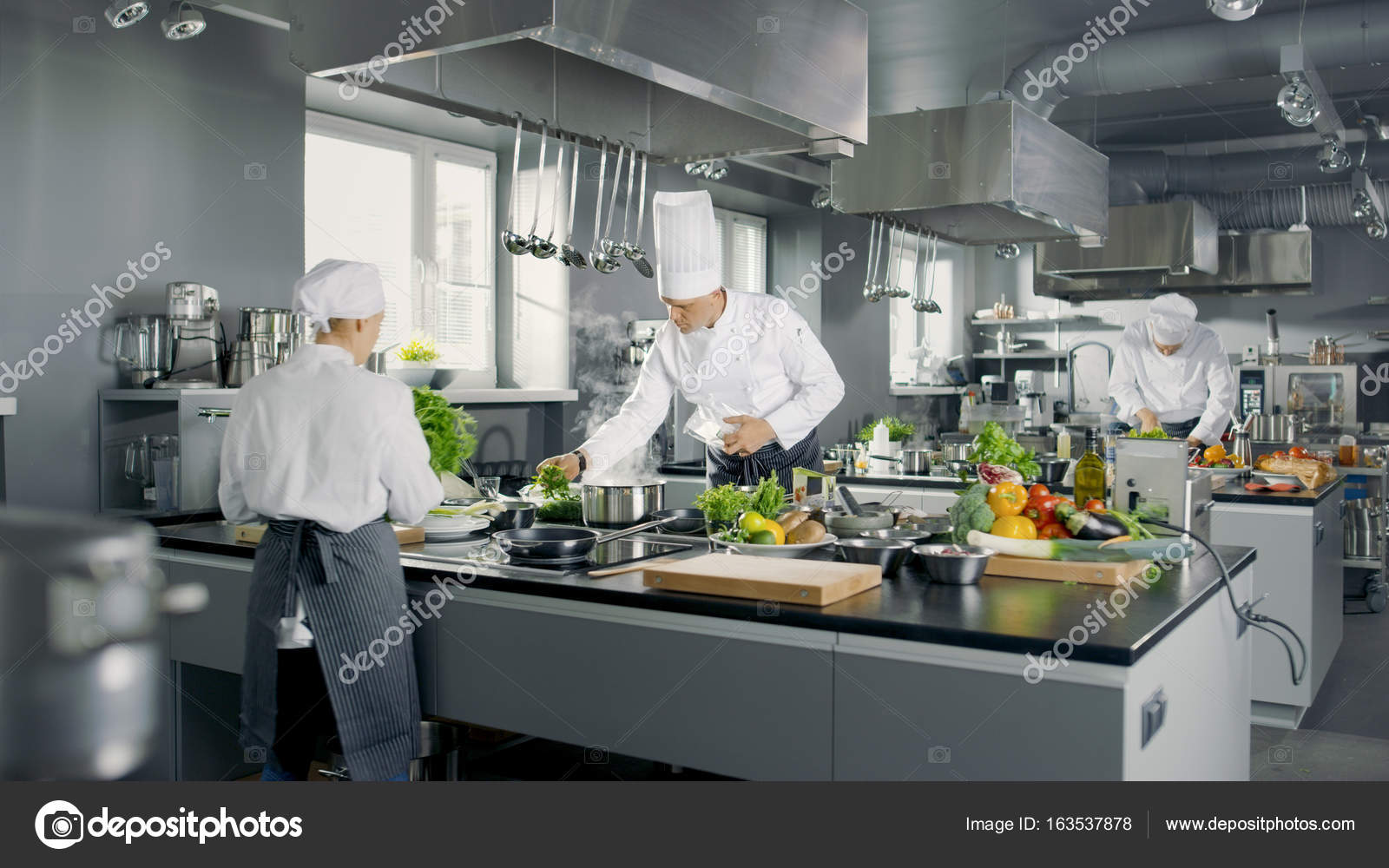 busy kitchen. Big And Glamorous Restaurant Busy Kitchen, Chefs Cooks Worki \u2014 Stock  Photo Busy Kitchen