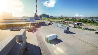 Aerial Shot of  Logistics Center with Trucks