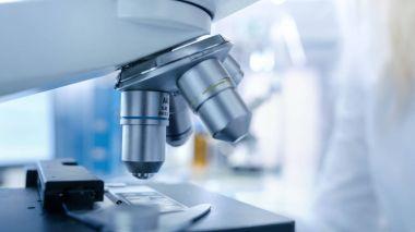 Close-up shot of Scientific Microscope in a Bright Modern Labora