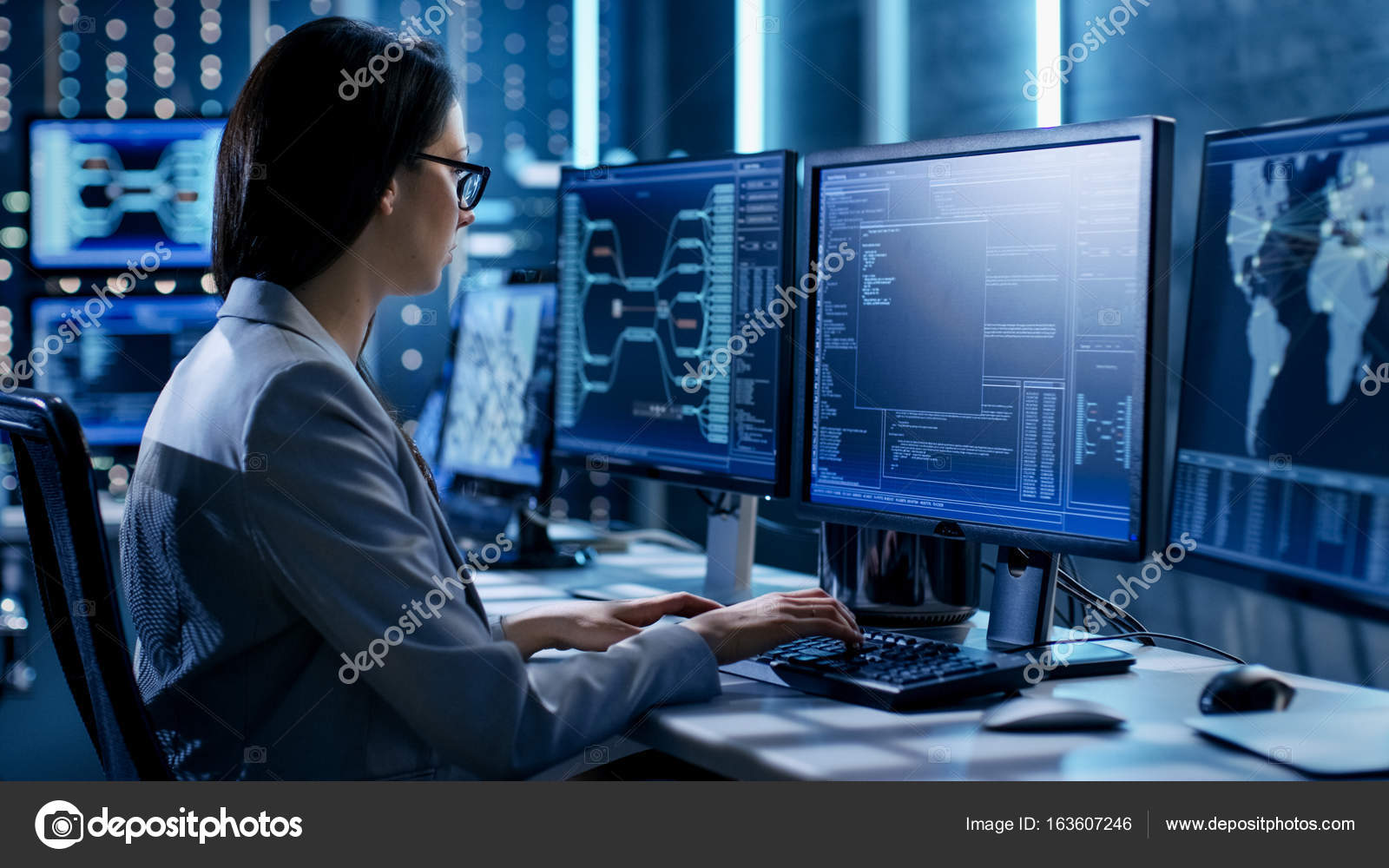 Female System Engineer Controls Operational Proceedings