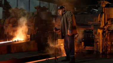 Heavy Industry Worker Doing Quality Control in Foundry. Rough In