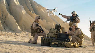 Soldiers are Using Drone for Scouting During Military Operation