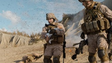 Soldier Carrying a Baby and Running Away from the Explosion Whil