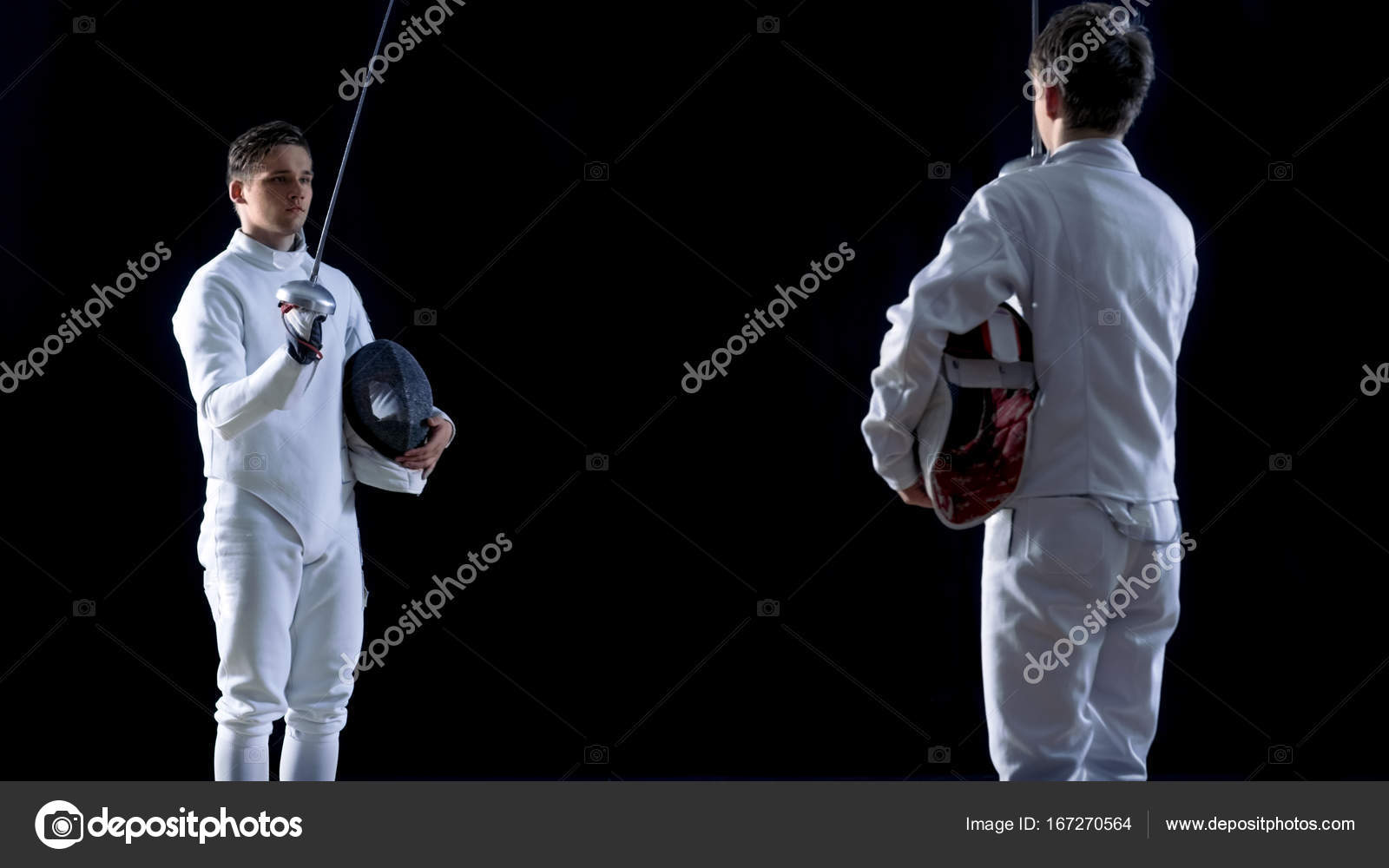 Two Young Fencers Greet Audience and Each Other Before