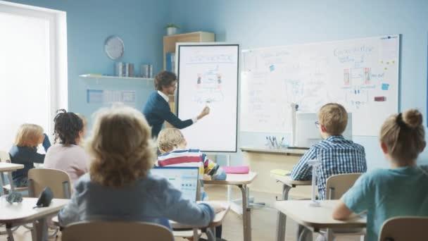 Általános Iskola Fizika Tanár Használja Interaktív Digitális Whiteboard, hogy megmutassa, hogy egy osztályteremben tele Smart Diverse Children, hogyan működik a generátor. Tudomány osztály, Kid Raises Hand with Answer
